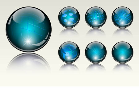 6 different crystal refracting spheres  photo
