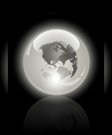 3d crystal globe  World map inside  Vector