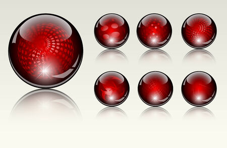 refracting: 6 different crystal refracting spheres Illustration
