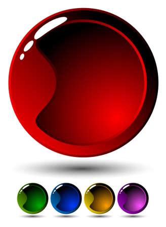 glossy buttons: Set di cinque pulsanti. Completa illustrazione vettoriale modificabile Vettoriali