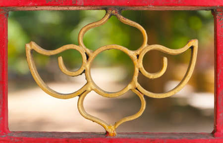 curved steel gate work  paint the gold photo