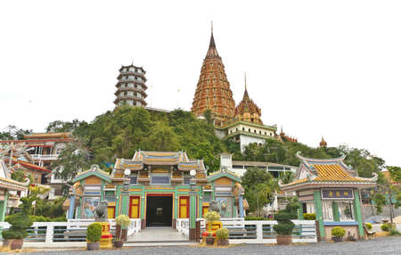 thai temple and Chinese temple in kanchanaburi thailand