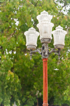 head pole lamp in thai temple photo
