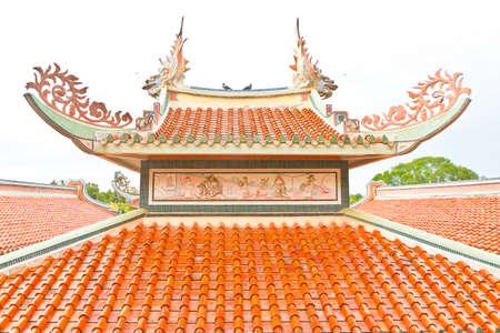 temple Chinese roof in kanchanaburi thailand Stock Photo