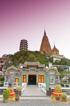 thai temple and Chinese temple in kanchanaburi thailand photo