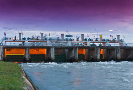 Floodgate at  Mae Klong Dam kanchanaburi thailand Stock Photo