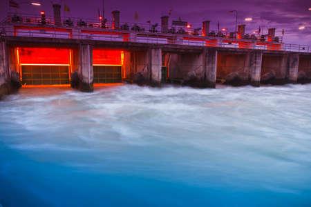 Floodgate at  Mae Klong Dam kanchanaburi thailand Stock Photo