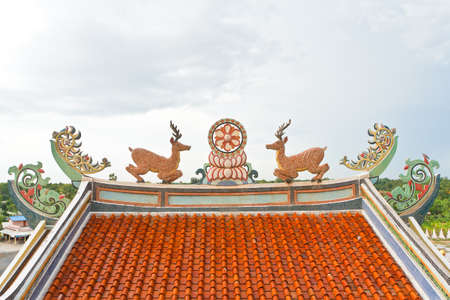 temple Chinese roof in thamoung kanchamaburi photo