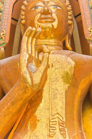 Big golden Buddha in Wat Tham Suea,Kanchanaburi photo