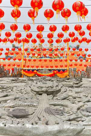 Temple Chinese, Chinese art, and decorated with lights. kanchanaburi thailand photo