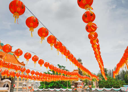 Decorated with Chinese lanterns, Chinese temple, Thailand photo