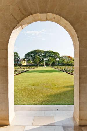 Grave Stone at World War II Cemetery, Kanchanaburi, Thailand photo
