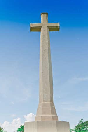 cross ,World War II Cemetery, Kanchanaburi, Thailand