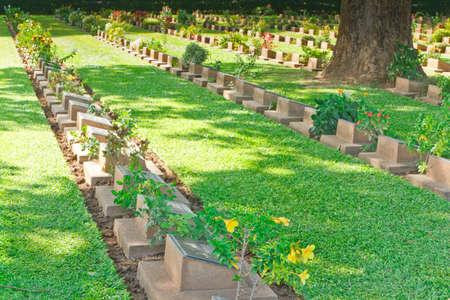 Grave Stone at World War II Cemetery, Kanchanaburi, Thailand