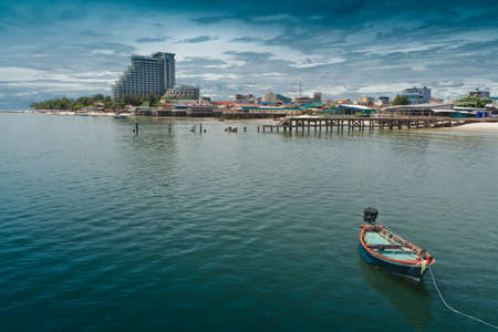 hin: Hua Hin beach, is famous, Thailand. Stock Photo