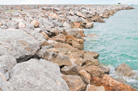 rock wave Barriers, at the harbor Cha -am Thailand.