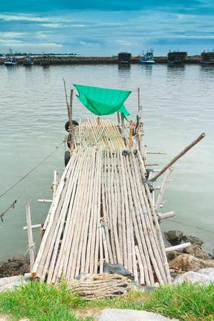 Fishing pier.at cha-am beach thailand photo