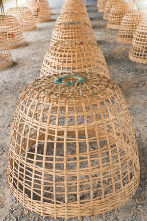 Detention cage for chickens from bamboo Stock Photo - 16103218