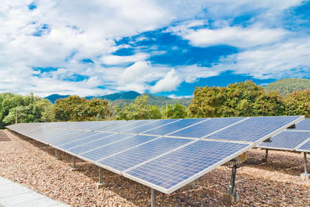 electric cell: Solar power plant  pha boag  Stock Photo