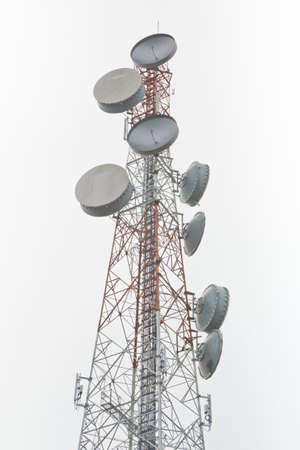 Communication signal tower, upright tall  Stock Photo
