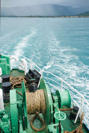Winch with rope on ferry Stock Photo