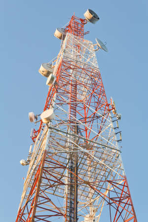 upright: Communication signal tower, upright tall  Stock Photo