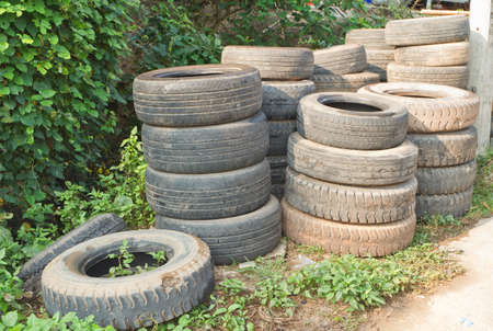 Used tires placed on the stack  photo