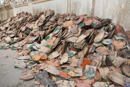 Old temple roof tiles, pile on the floor