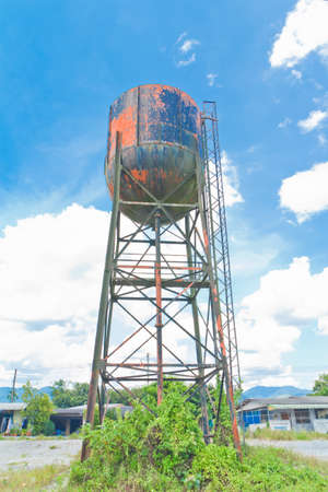 water tank  for an old steam train,thailand Stock Photo