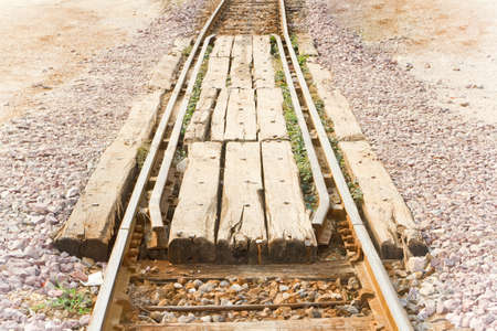 Rail crossing, made from old sleepers  Stock Photo