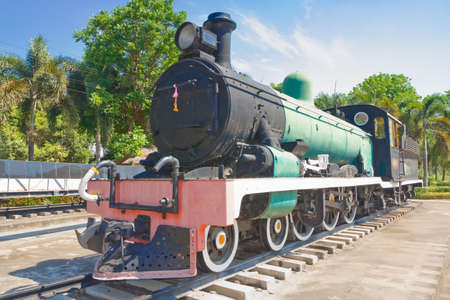 then: Old Steam train, then retired  Stock Photo
