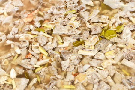 chitterlings: Chitterlings boiled , cooking with herbs, Thailand style