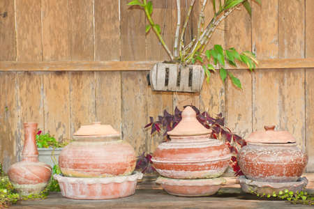 Pottery water containers, variety style  photo