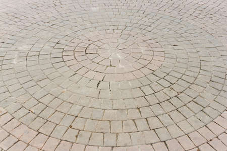 sorted: Concrete paving blocks, sorted into circle. Stock Photo