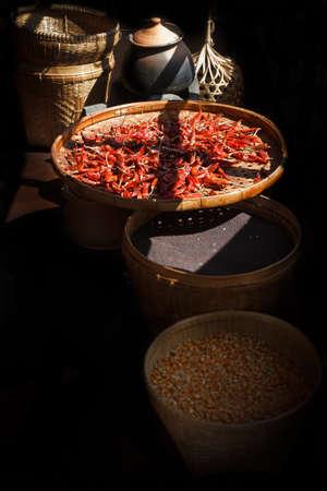 threshing: dried chili in a threshing basket
