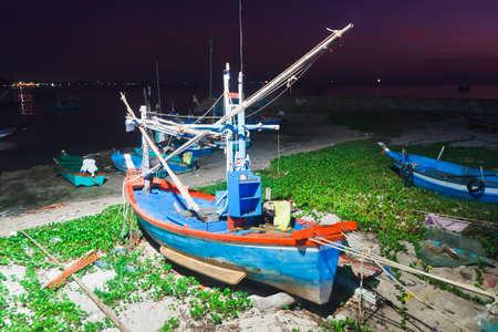hua hin: Hua -Hin famous beaches and fishing boats, in the morning.