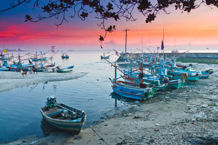 Hua -Hin famous beaches and fishing boats, in the morning.