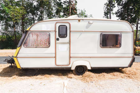 KANCHANABURI, THAILAND-JANUARY 13: car caravan trailer, parked in the parking lot for camping on January 13, at Kanchanaburi Thailand.
