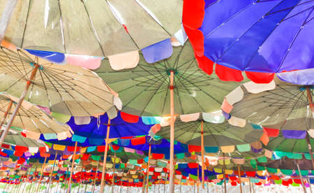 Colorful beach umbrella.