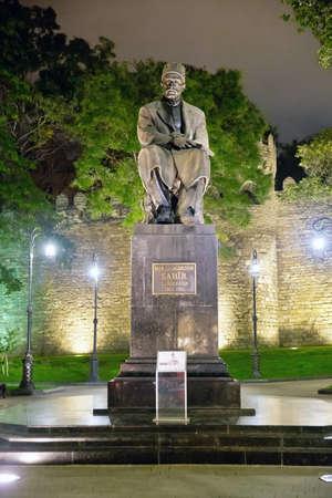 Baku, Azerbaijan at night Sabir square monument