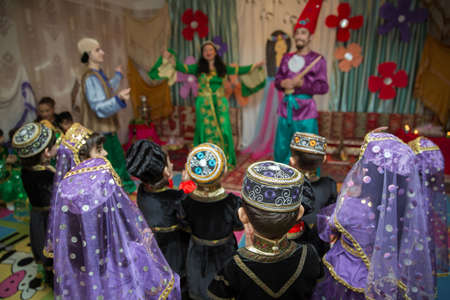 Novruz holiday background . The national costume of the Azerbaijani national hat and cap