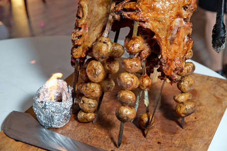 Roasted meat cooked in a special way. Barbecue is prepared of lamb or sheep meat and processed by slasher.