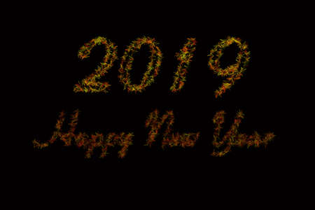 Black background 2019 article . Red and green 2019 New Year of on black background . Happy New Year Card design, web banner template, poster, lettering background . A 2019 article similar to Flower