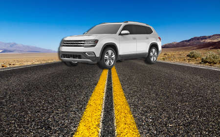 Silver 4x4 jeep rough landscape. CROSSOVERS SUVS . SILVER SKY METALLIC Silver cars . Luxury car Standard-Bild - 118074057