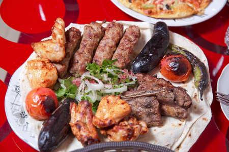 Chopped onion. Sumax. Lullaby in Sheet, Strawberry, Chicken Kebab, Eggplant Tomato Kebab Pepper Kebab