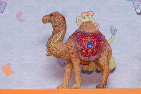 Decorated camel , used generally in indian culture, used as a souvenir. Beautiful camel souvenir as sold in the souq of Baku , Azerbaijan Emirates . 版權商用圖片