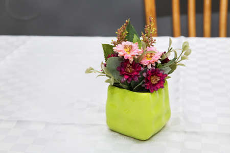 Pot with artificial red and pink daisy flower. Red and pink primroses in spring blooming in a green pot on a white background announce spring and warm weather Reklamní fotografie
