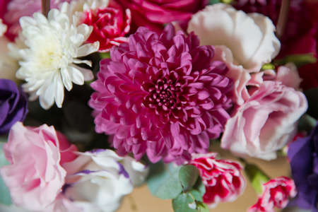 white, purple roses . Purple, white, yellow flowers. Pink, white, yellow flower bouquet . 写真素材