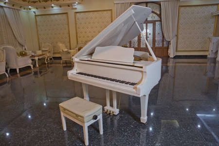 spring piano decor .White piano and chair . white piano in the hall .Piano conner for relax and playing music.