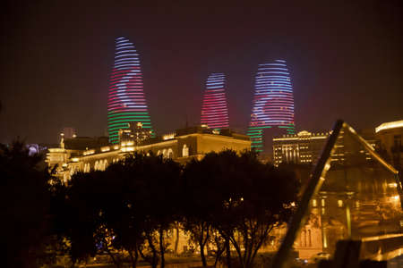 Baku, Azerbaijan, Night view of Baku with skyscrapers of the Flame Towers . It is the tallest skyscraper in Baku, Azerbaijan with a height of 190 meters.